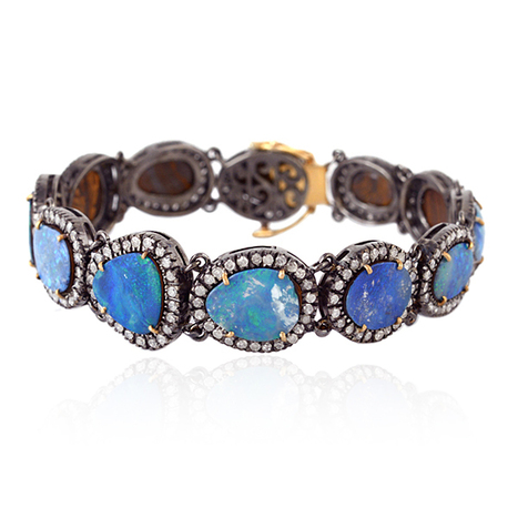 18k Gold Diamond Opal Gemstone Bracelet | Gemstone Jewelry | GemcoDesigns | Pave Diamond Bracelets | Diamond Jewelry | GemcoDesigns | Scoop.it