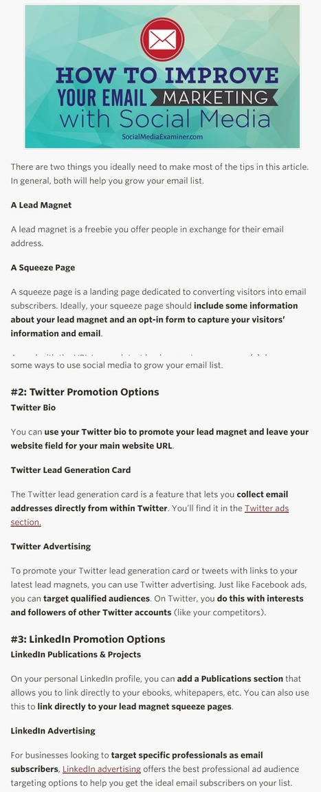 How to Improve Your Email Marketing With Social Media | Social Media Examiner | Web Marketing | Scoop.it