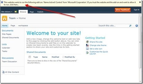 Removing the Name ActiveX Control Warning in SharePoint 2010 : mauvaise idée... sur IE9+ | News David Vallais | Scoop.it