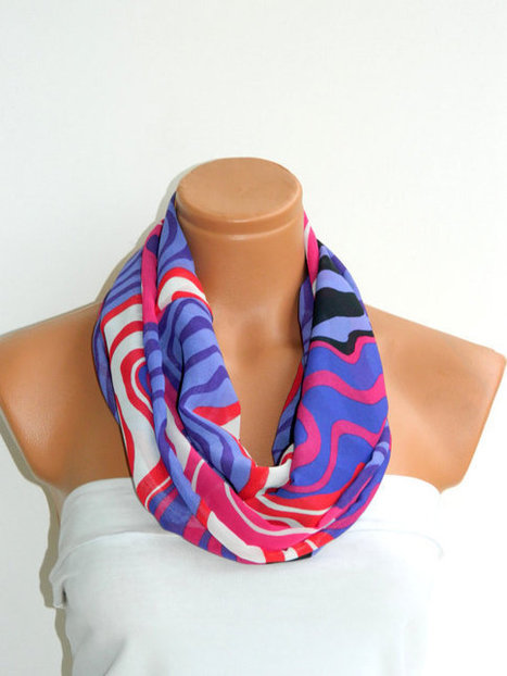 Scarves,Purple,Pink,White Infinity Scarf,Loop Scarf,Circle Scarf, Striped Chiffon Scarf,Cowl Scarf,Nomad Cowl.... Multicolor, Eternity Scar | women fashion | Scoop.it