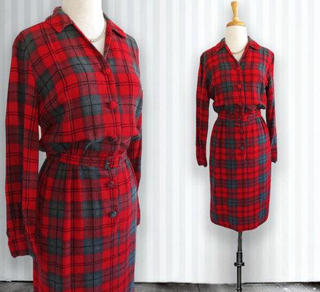 Vintage Wool Check Dress.  Vintage Dress. Red, Gray, and Black Check Pattern | DustyDesert vintage | Scoop.it
