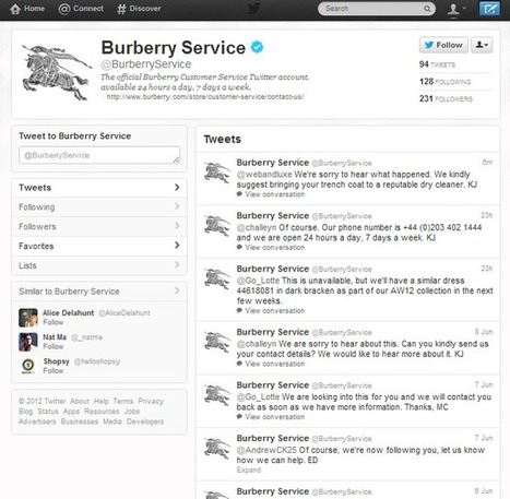 Burberry Service ou l'art de la relation client sur Twitter | e-commerce MW | Scoop.it