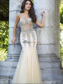 Cheap Tulle Floor-Length Natural Sleeveless Prom Dress Sale at Amydress.co.uk | amydress | Scoop.it