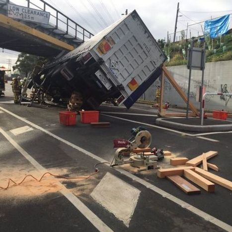 Driver freed from cab after truck crashes into rail bridge | Truckers Daily | Scoop.it