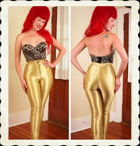 SOLID GOLD 1970's Skin Tight Stretchy Lycra Spandex High Waisted Disco Jeans Pants by Frederick's of Hollywood - Boogie Nights - Size S to M | Kitsch | Scoop.it
