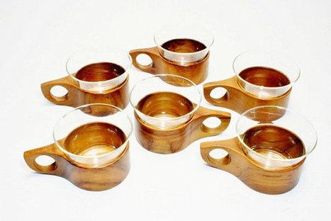 6 German Modernist Hand Crafted Glass & Wood Coffee Cups - Mid Century Modern -  Zint  Glass by Schott Mainz Espresso Cups DANSK Quistgaard   S U B L I M E * D E S I G N   Scoop.it