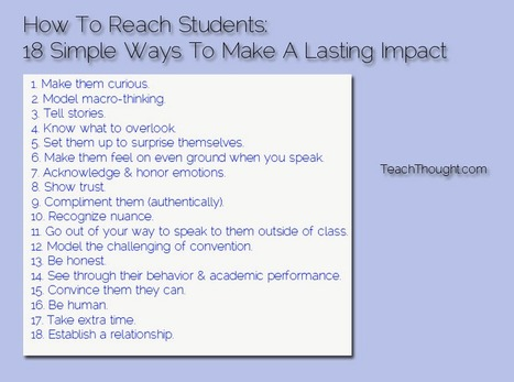 Reaching Students: 18 Simple Ways To Make A Lasting Impact On Your Students | Jewish Education | Scoop.it