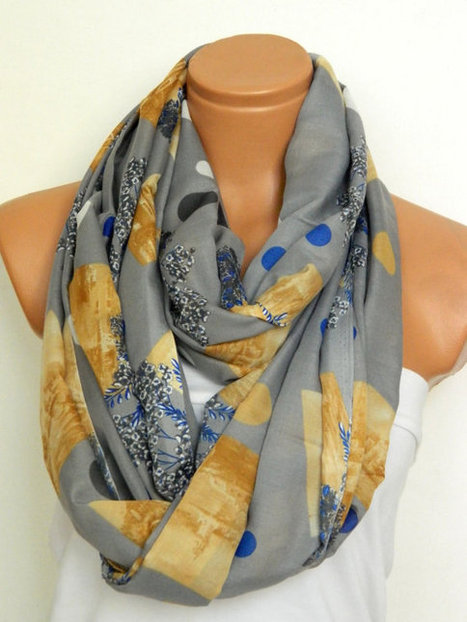 Grey,Mustard and Blue Scarves,Infinity Scarves,Loop Scarf,Circle Scarf,Chiffon Scarf,Cowl Scarf,Nomad Cowl,Capelet..polka-dot scarf. by WomensScarvesTrend | women fashion | Scoop.it