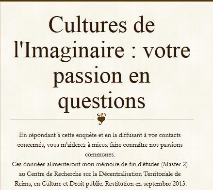 [Culture - Recherche] Questionnaire sur les Cultures de l'Imaginaire | Grandeur Nature | Scoop.it