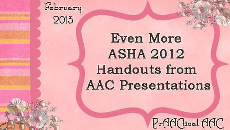 Even More ASHA 2012 Handouts from AAC Presentations | AAC: Augmentative and Alternative Communication | Scoop.it