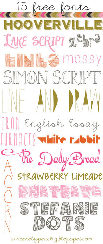 """Sincerely Peachy"": 15 Free Fonts! 