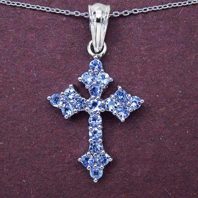 1.33CTW Genuine Tanzanite .925 Sterling Silver Cross Shape Pendant   Online Jewellery Shopping in India   Scoop.it