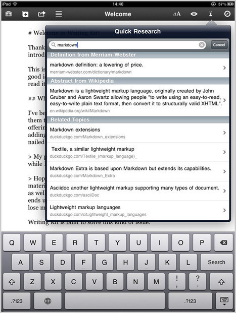 Writing Kit: An iPad Writing App That Puts References At Your Fingertips | Co.Design | Scriveners' Trappings | Scoop.it