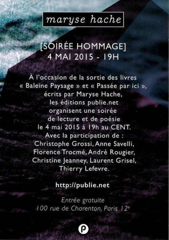 [agenda] Lundi 4 mai 2015 | Hommage à Maryse Hache | Poezibao | Scoop.it