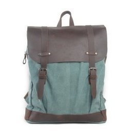 Coral green canvas school backpack | leather flap rucksack - $78.90 : Notlie handbags, Original design messenger bags and backpack etc | personalized canvas messenger bags and backpack | Scoop.it