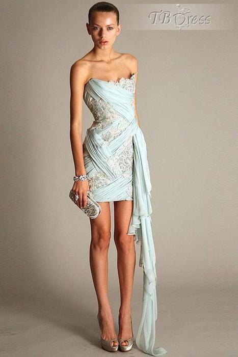 Elegant Ruched Applique Strapless Column Mini/Short Cocktial Dress | skirt | Scoop.it