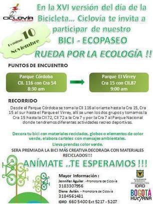10 de noviembre Bici-Ecopaseo en el #DíaDeLaBicicleta | Cultura Literaria | Scoop.it