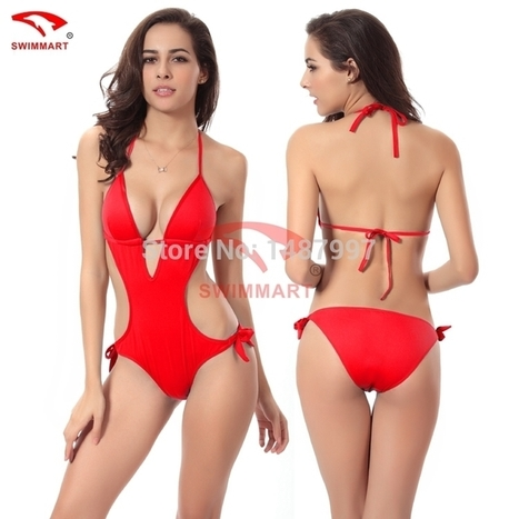 New Design Hot ! Solid Color Vintage Sexy Bikini Set One Shoulder Flower Swimwear One Pieces Swimsuit Sexy Large Size VS003 | CHICS & FASHION | Scoop.it