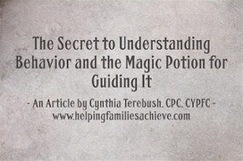 Helping Kids and Families Achieve with Cynthia Terebush, CPC, CYPFC: The Secret to Understanding Behavior and the Magic Potion for Guiding It | Best Practice in Early Childhood Education | Scoop.it