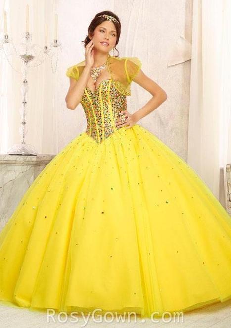 Multi-colored Beaded Yellow Tulle Strapless Quinceanera Dress | Designer Bridesmaid Dress 2014 | Scoop.it
