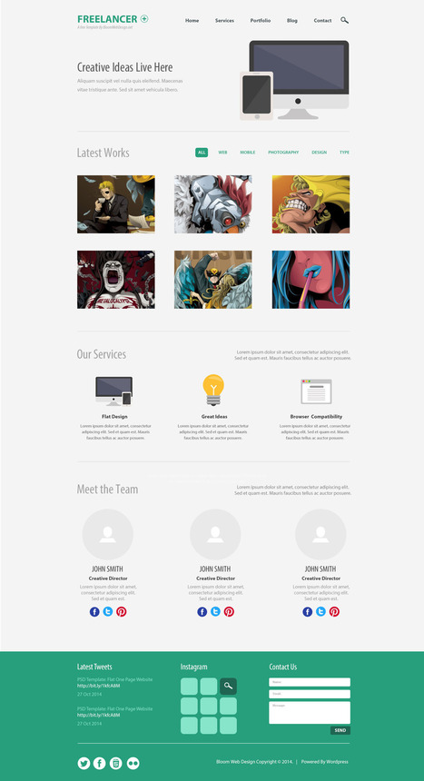 Free PSD: Minimalist One Page Website Template | Articles | Scoop.it