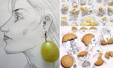 Artist doodles around popcorn and grapes to make incredible portraits | io art | Scoop.it