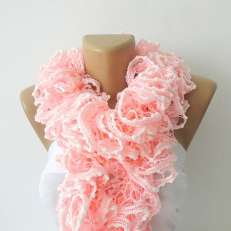 Valentines day,Hand Knit Ruffled Scarf ,pink scarf,UNDER 25,pink and white,accessories,gifts for her,fashion,long scarf | Knit Ruffled Scarf,multicolor scarf,2013 NEW TREND SCARF,accessories,gifts for her,fashion,long scarf | Scoop.it