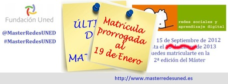 Máster UNED Redes sociales y aprendizaje digital | Últimas matrícula, hasta el 19 de enero | Poder-En-Red | Scoop.it