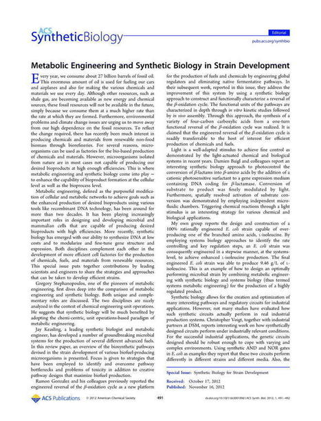 Metabolic Engineering and Synthetic Biology in Strain Development - ACS Synthetic Biology (ACS Publications) | SynBioFromLeukipposInstitute | Scoop.it