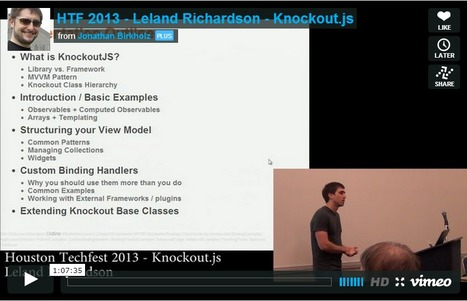 Diving Into KnockoutJS - Houston TechFest 2013 Screencast | Development on Various Platforms | Scoop.it