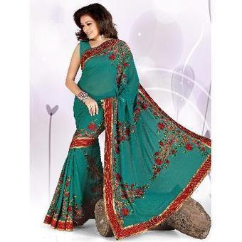 Designer Saree Semi Pure Georgette | Party Wear Sarees | Scoop.it
