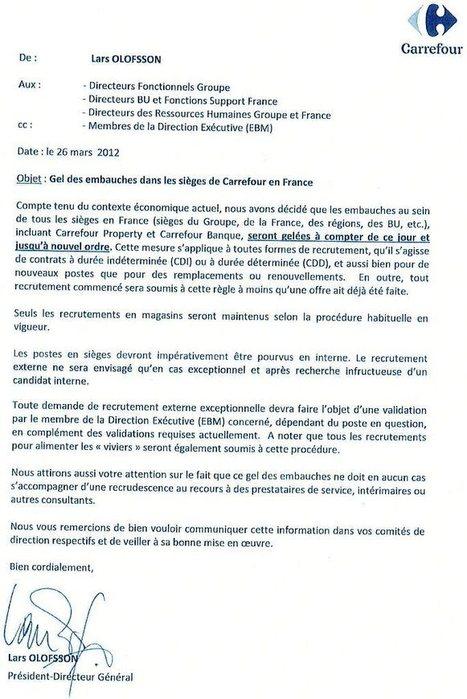 Gel des embauches aux sièges de Carrefour ? | Actualité de l'Industrie Agroalimentaire | agro-media.fr | Scoop.it