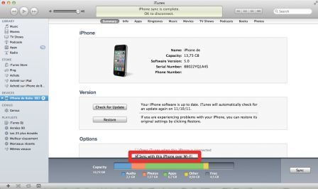 "Pratique iPhone iOS 5 : Synchroniser son iPhone avec iTunes sans fil | Veille Techno et Informatique ""Autrement"" 