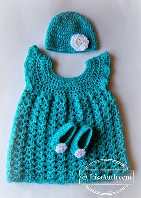 Free Crochet Patterns Baby Set Hat Booties and Dress | Free Crochet Patterns and Designs by LisaAuch | Free crochet patterns and tutorials | Scoop.it
