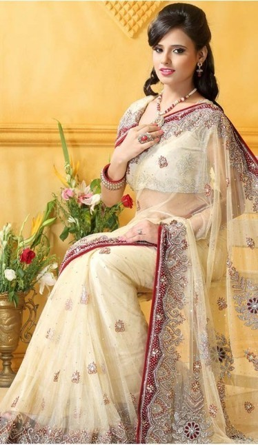 Cream Net Sari With Blouse | fashionheena.com | Scoop.it