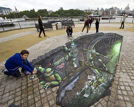 Cowabunga: Teenage Mutant Ninja Turtle 3D Street Art | Geekologie | The sreet art of graffiti | Scoop.it
