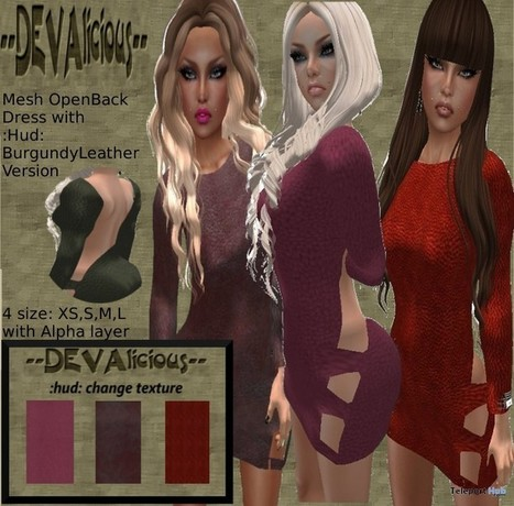 Mesh Open Back Dress with HUD Group Gift by DEVAlicious | Teleport Hub - Second Life Freebies | Second Life Freebies | Scoop.it