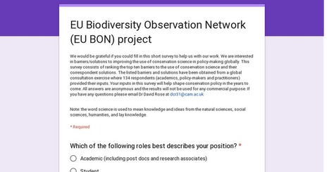 EU Biodiversity Observation Network (EU BON) project | Science - Policy Interface | Scoop.it