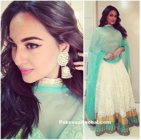 Sonakshi Sinha in White Backless Lehenga Choli by Anita Dongre | Indian Fashion Updates | Scoop.it