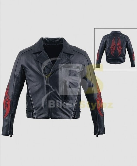 Mens Flames Leather Motorcycle Outfit Richly Adorned. | Biker stylez leather jackets | Scoop.it