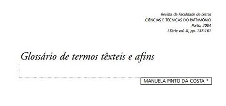 (PT) (PDF) - Glossário de termos têxteis e afins | MANUELA PINTO DA COSTA | Glossarissimo! | Scoop.it