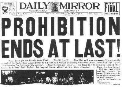 On this day 1933…Prohibition ends | Cassie Presto - Amendment 18 | Scoop.it