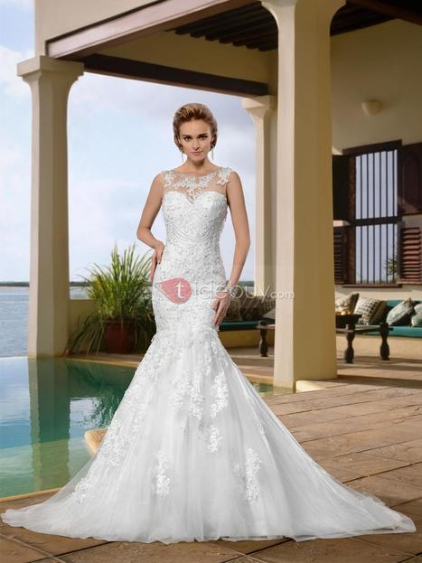 Gorgerous Sleeveless Scoop Appliques Trumpet Wedding Dress | warmhat | Scoop.it