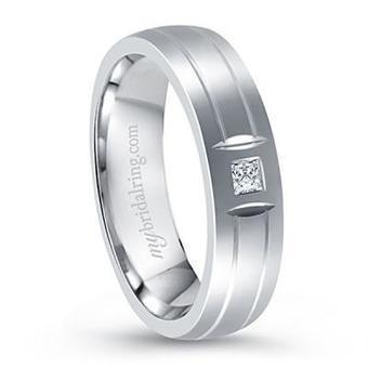 Men's 14K White Gold Diamond Wedding Band | My bridal Ring | Wedding Ring | Scoop.it