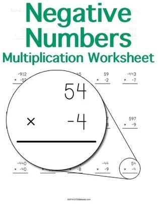 Multiplying Negative Numbers Worksheet | STEM Sheets | Math Worksheets and Flash Cards | Scoop.it