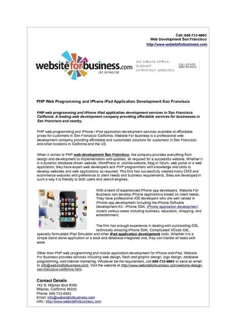 PHP Web Programming and iPhone iPad Application Development San Francisco | Web Development | Scoop.it