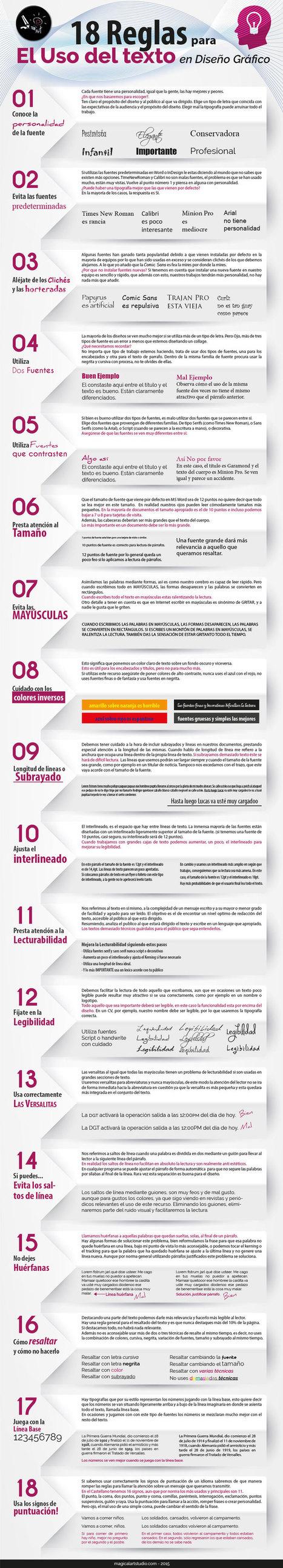 18 reglas para el uso de Texto en Diseño Gráfico #infografia #infographic #design | Educación con tecnología | Scoop.it