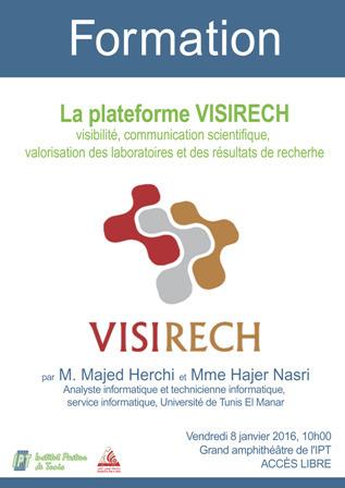 Formation à la plateforme Visirech, 8 janvier à 10h à l'IPT | Institut Pasteur de Tunis-معهد باستور تونس | Scoop.it