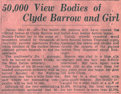 News Article About Burial of Bonnie & Clyde - Primary Doc | 1930's Crimes | Scoop.it