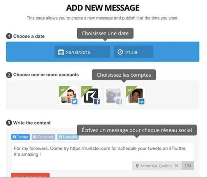 Runlater. Programmer vos messages sur les réseaux sociaux   Les outils de la veille   TIC et TICE mais... en français   Scoop.it